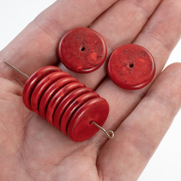20mm Red Magnesite Turquoise Disk Beads, Stone Heishi Spacer 50/Pkg