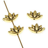 Gold Lotus Flower Beads, TierraCast Yoga Meditation Bead 4/Pkg