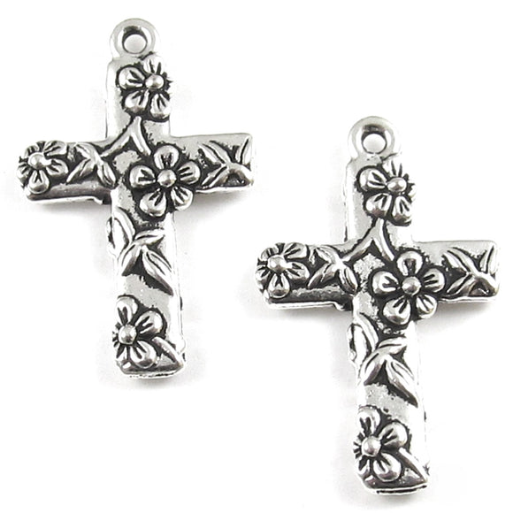 Silver Floral Cross Charm, TierraCast Pewter Pendant (2 Pieces)