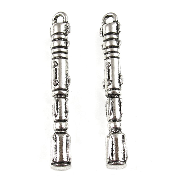 Silver Doctor Who Sonic Screwdriver Metal Charms, Dr. Who Pendant (6 Pieces)