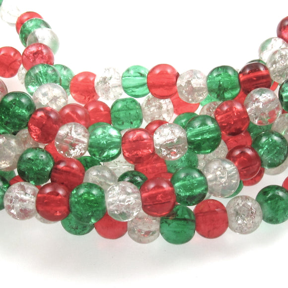 Bright Red, Green & Clear Glass Crackle Bead Set, Christmas Mix 6mm (90 Pieces)