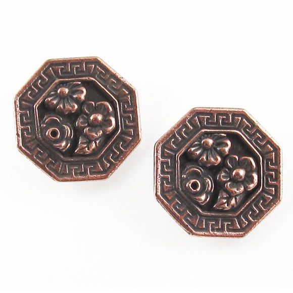 Copper Flower Blossom Buttons, TierraCast Leather Clasp, Shank Back (2 Pieces)