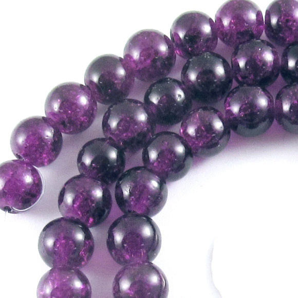 Round Glass Crackle Beads-PURPLE 8mm (50)