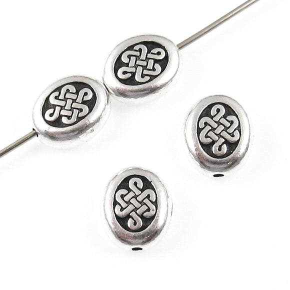 Small Silver Celtic Endless Knot Oval Beads, TierraCast Pewter 7x9mm (4 Pieces)