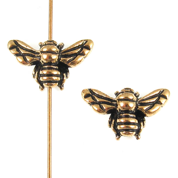 Gold Honey Bee Bead, TierraCast Insect, Animal, Spring Beads (2 Pieces)