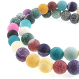 Pastel Frosted Dragon Vein Agate Beads, 8mm Round Gemstone Mix, 48 Pcs