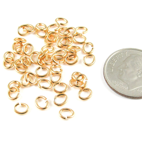 Bright Gold Small Oval Jump RingsTierraCast 4x5mm (50 Pieces)