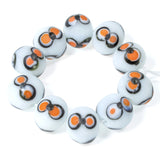 Halloween Eye Lampwork Beads, Black/Orange Indonesian Glass 10/Pkg