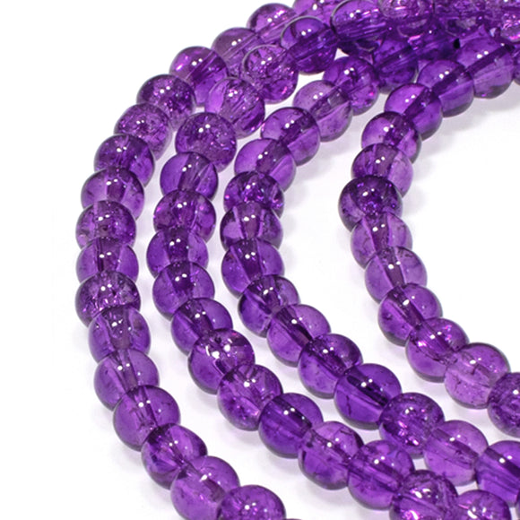 4mm Purple Round Glass Crackle Beads 200/Pkg