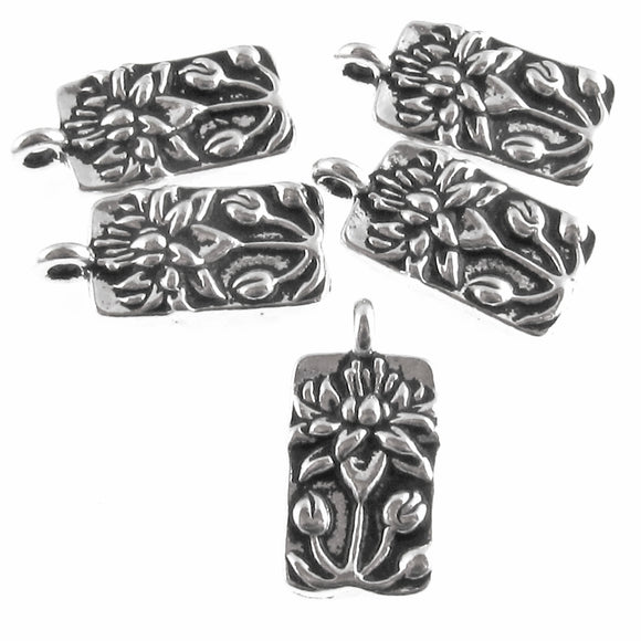 Silver Lotus Flower Charms, TierraCast Floral Rectangle (5 Pieces)