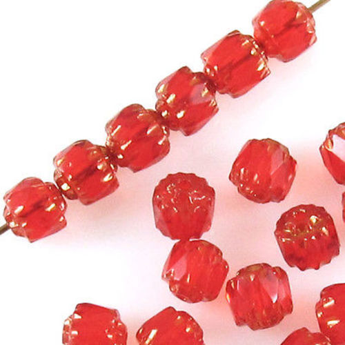 Siam Red Faceted 6mm Crown Cathedral Beads, Czech Glass (25 Pieces)