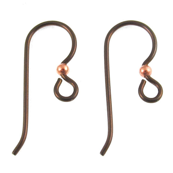 Niobium Copper Ear Wires + 2mm Bright Copper Bead, TierraCast (10 Pieces)