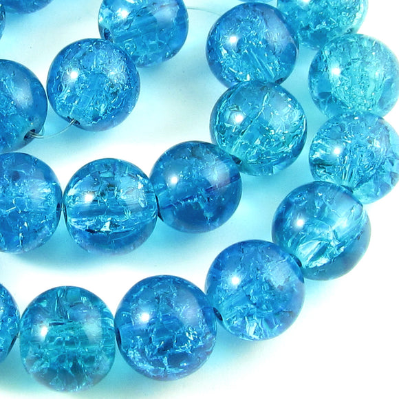 Aqua Blue 10mm Round Glass Crackle Beads (30 Pieces)