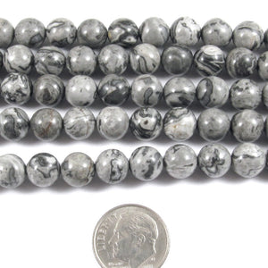 "Map Stone Picasso Jasper 8mm Round Gemstone Beads, 15"" Strand (46 Pcs)"