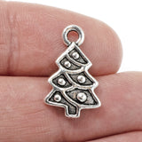 Silver Christmas Tree Charms, TierraCast Holiday Charm 2/Pkg