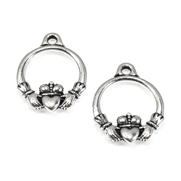 Silver Small Claddagh Charms, TierraCast Pewter Celtic Irish Symbol 2/Pkg