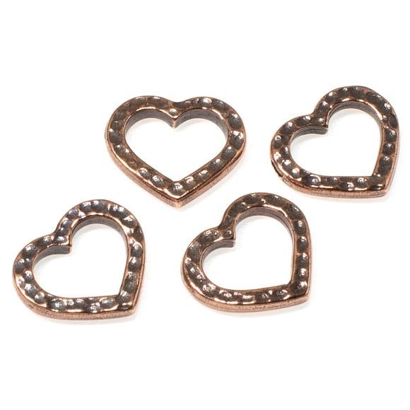 Copper Hammered Heart Links, Distressed Open Connectors 4/Pkg