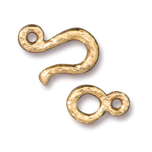 Gold Hammered Hook & Eye Clasps