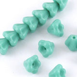 Czech Glass Baby Bell Flower Beads-Opaque Green Turquoise 4x6mm (50)