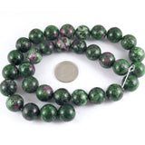 "Ruby Zoisite 12mm Round Gemstone Beads, Green Pink 15"" Strand (32 Pieces)"