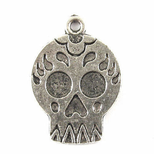 Silver Flat Skull Charms