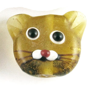 Glass Lampwork Two Sided Cat Beads-Amber KITTEN FACES 20mm (4 Pieces)