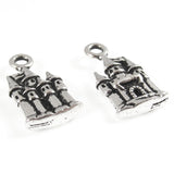 Silver Castle Charm, TierraCast Princess, Fairy Tale, Fantasy (2 Pieces)