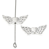 Bright Silver Heart Wing Beads, Metal Angel Wings 25/Pkg