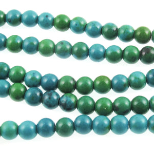 Chrysocolla 5.5mm Round Stone Beads, Turquoise Blue and Green, 72 Pcs