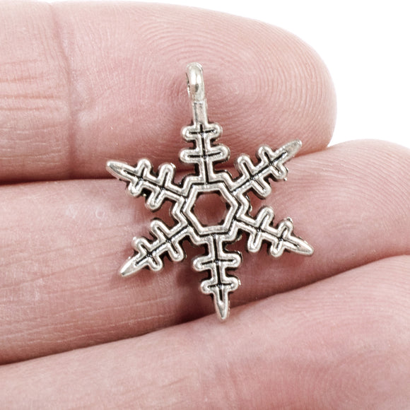 Silver Snowflake Pendants, Metal Christmas Holiday Winter Charm 20/Pkg