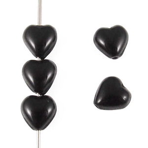 6mm Jet Black Czech Glass Heart Shaped Beads (50 Pieces)