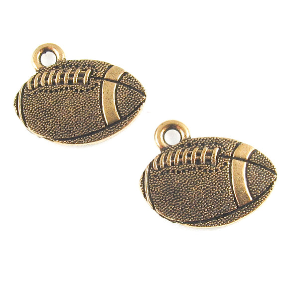 Gold Football Charm, TierraCast Pewter Sports (2 Pieces)