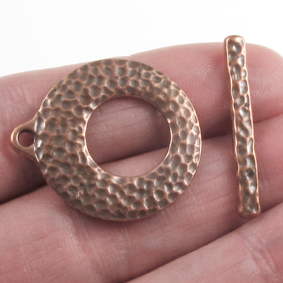 Copper Distressed Toggle Clasp, TierraCast Round Artisan Clasp Set