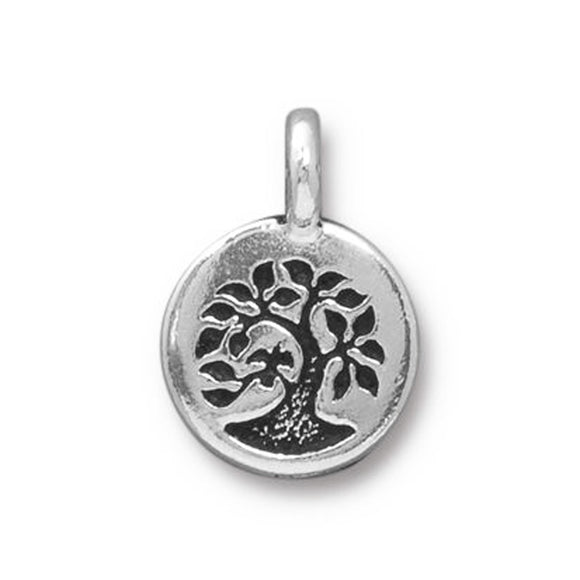 Silver Bird in a Tree Charms, Mindfulness Jewelry Charm 2/Pkg