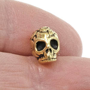 Gold Rose Skull Beads, Sugar Skull, Day of the Dead Beads 5/Pkg