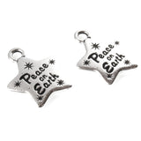 Silver Peace on Earth Star Charms, TierraCast Lead Free Pewter (2)