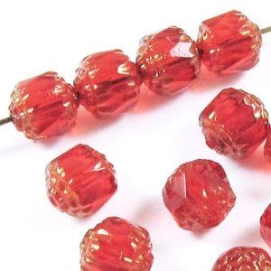 Siam Red Faceted 8mm Crown Cathedral Beads, Czech Glass (12 Pieces)