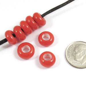 Rondelle Large 4mm Hole Lampwork Glass Beads-BRIGHT RED 5x10mm (30)