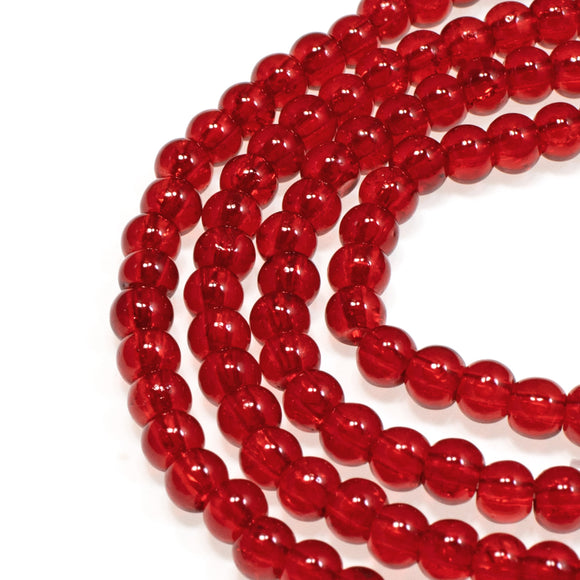 Ruby Red 4mm Round Glass Beads, Holiday Christmas Beads 200/Pkg