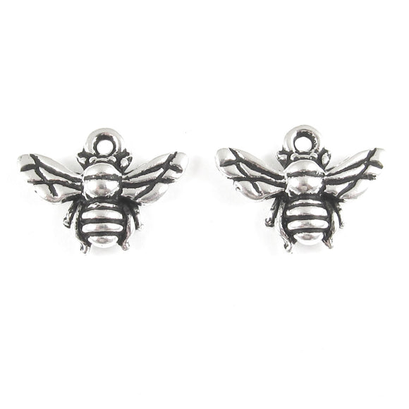 Silver Honey Bee Charms