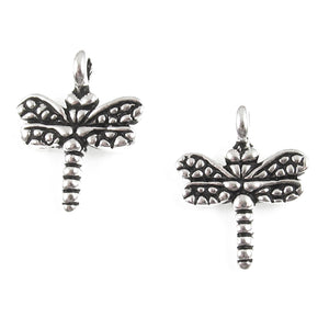 Silver Small Dragonfly Charms, TierraCast Pewter Insect (4 Pieces)