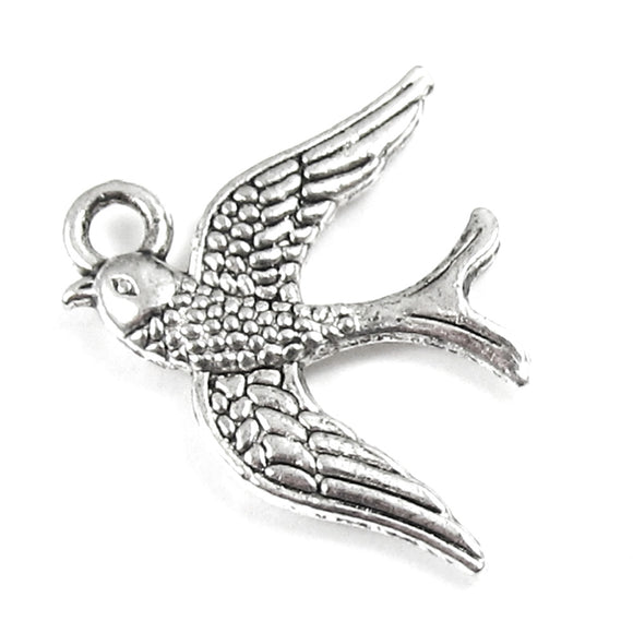 Silver Swallow Metal Charms, Animal Bird Pendant (10 Pieces)