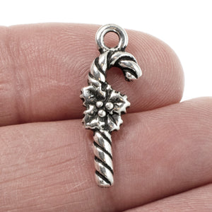 Silver Candy Cane Charms, TierraCast Christmas Holiday Charm 2/Pkg