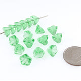Mint Green Czech Glass Bell Flower Beads 6x8mm (25 Pieces)