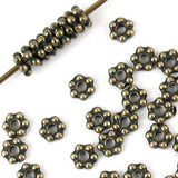 Brass Oxide 3mm Daisy Spacer Beads