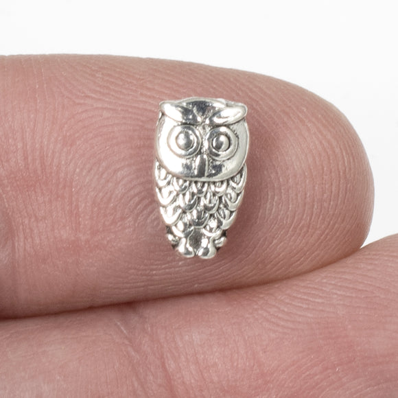 Silver Small Owl Beads, Metal Animal Bird Spacers, 6x10mm 25/Pkg
