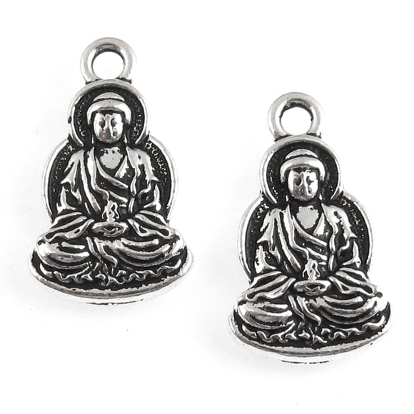 Silver Sitting Buddha Charms, TierraCast Yoga Meditation Charm (2 Pieces)