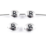 "Silver ""R"" Alphabet Beads, Oval Letter For Personalized Jewelry 4/Pkg"