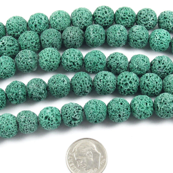 Green Lava Rock Beads, 10mm Round Volcano Beads, 15