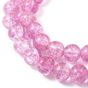 Lavender Pink 8mm Round Glass Crackle Beads (50 Pieces)